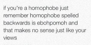 Homophobe spelled backwards is ebohpomoh