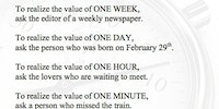 The value of time.