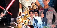 Someone recreated the episode VII poster with stock photos of people in Star Wars costumes from Party City.
