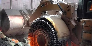 Specialized tires used in the extreme heat of steel mills.