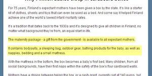 Why Finnish babies sleep in cardboard boxes.
