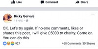 Ricky Gervais trying to give money to charity?