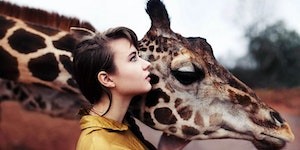 A girl and a giraffe.