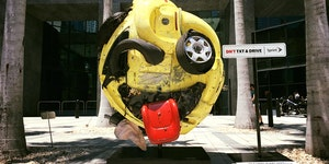 Artist Rudolf Kohn, transformed a mangled car into an emoji as an anti texting and driving PSA.