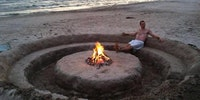 A proper beach bonfire