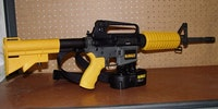 DeWalts Ar-15 nail gun can shoot a 6-D nail thru a 2 X 4 at 200 feet.