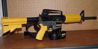 DeWalts Ar-15 nail gun can shoot a 6-D nail thru a 2 X 4 at 200 feet.
