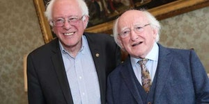Bernie Sanders with a banker from Gringotts.