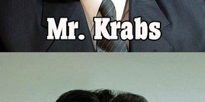 Kim Jong-Un imitates Spongebob.