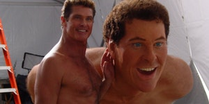 David Hasselhoff posing with his wax stunt double on the set of the SpongeBob movie.