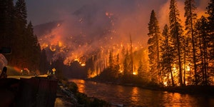 Firefighters, right now, are protecting Leavenworth, WA. They are posted every 100 yards looking for hot spots that jump the river.