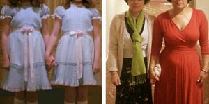Lisa and Louise Burns from Stanley Kubrick's 'The Shining, photographed in 1980 and again 2015.