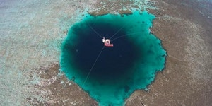 Sansha Yongle Blue Hole is the deepest known salt water blue hole in the world and is located by a major coral reef in the Xisha Islands (Paracel Islands) in the South China Sea