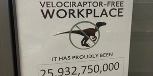 This is a Velociraptor-free workplace.