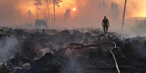 A forest fire in Ljusdal, Sweden. ...and the flame hath burned all the trees of the field.