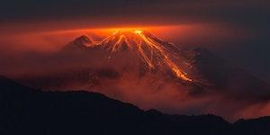 The eruption of Reventador, Ecuador.