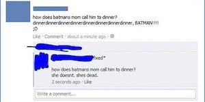 How does Batman's mom call him to dinner?