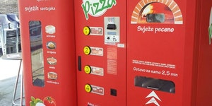 This is a pizza vending machine in Croatia.