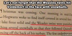 Hitting Voldemort with snowballs.