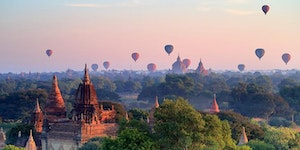 The Temples of Bagan, overlooked by a hot air balloon festival. There are said to be 2,200 Temples still preserved to date.