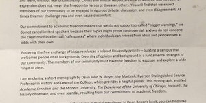 "The University of Chicago wrote a letter to their incoming freshman saying that the school doesn't support ""trigger warnings"" or ""safe spaces"""