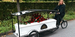 Bicycle funerals are a thing in the Netherlands.