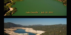 Before/After Picture showing California Lake affected by drought