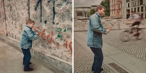 A before and after pic of the Berlin Wall.