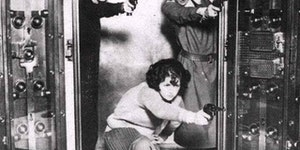 The employees at Cleveland Trust Bank Co. being trained to defend the bank vault, circa 1924.