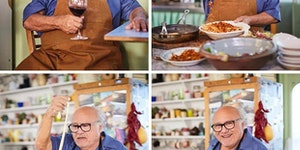 Danny Devito making pasta and drinking a nice Chianti.
