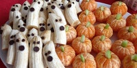 Orange pumpkins and banana ghosts!