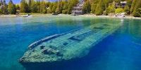 Beautiful, but spooky, sunken ship in shallow water. Lake Huron, Gray's Peninsula Ontario