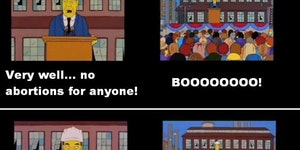 The Simpsons solve the abortion issue.