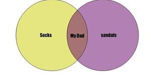 Socks, sandals, my dad.