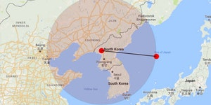 Range of North Korea's latest missile test.