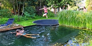 Just a pool disguised as a pond... with a trampoline.