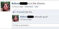 Kelsea is in the shower.