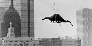 Dinosaurs arriving at the Boston Museum of Science, circa 1984