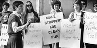 Women rally for male dancers circa 1980