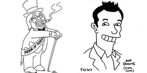 Matt Groening drawn by Seth MacFarlane and Seth MacFarlane drawn by Matt Groening