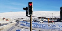 Traffic lights in Akureyri, Iceland.