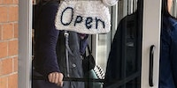 Yes, it's a knitting store... yes, it's open.