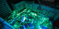 Glow-in-the-dark resin kitchen floor is neat.