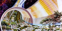 NASA envisioned Torodial Space Colonies in the 1970's, population circa 10,000.