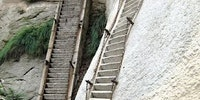 The steepest stairs in the world located at Mt Huashan, Gyna.